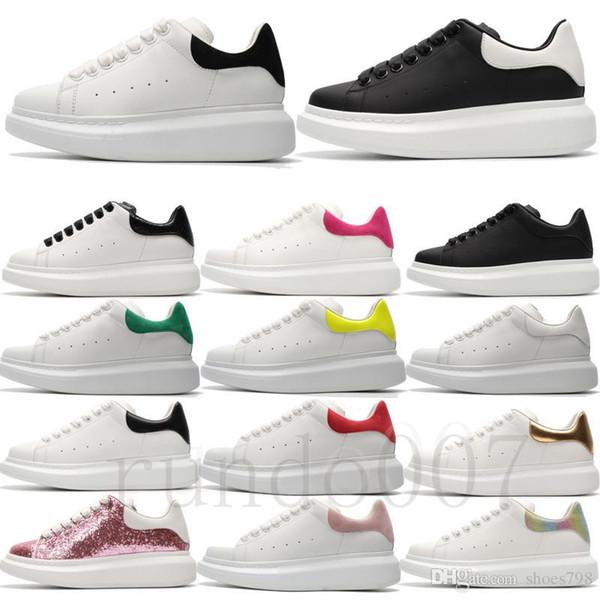 con caja caliente 2019 mcqueens zapatillas mujer hombre plataforma zapatos blancos planos MC negro rosa verde chaussures cuero 3M reflectante Diseñador casual