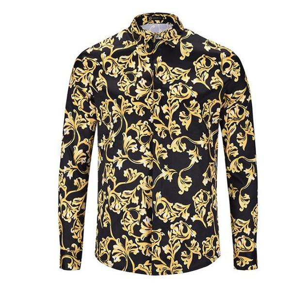 2019 новый дизайн мужская бизнес повседневная с длинным рукавом футболки Оптовая 3d одежда печати тонкий рубашки M-2XL