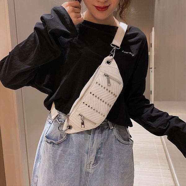 Women's Waist Bags 2019 New Ladies Chest Bag Fashion Rivet Crossbody Belt Bag Female Black PU Fanny Pack Shoulder Bags Banana 24