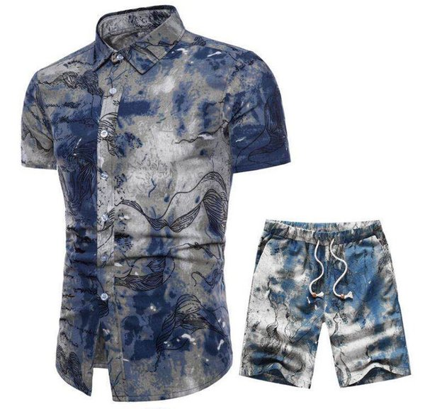 2019 New hot sale high quality Mens Summer Designer Suits Beach Seaside Holiday Shirts Shorts Clothing Sets 2pcs Floral Tracksuits