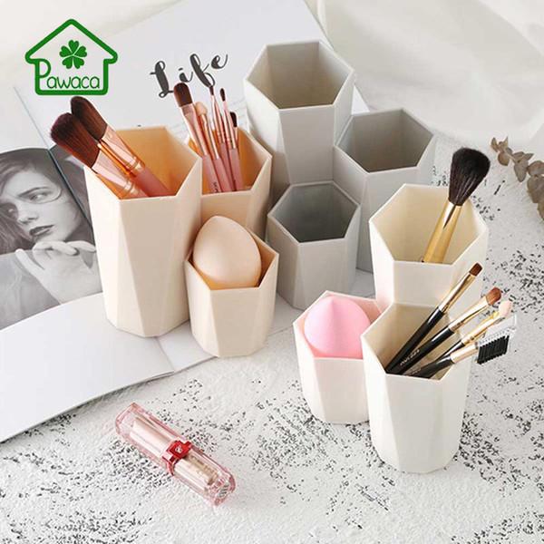 3 cores à moda simples Mulheres Escova da composição Titular Bucket sobrancelha lápis delineador caixa de armazenamento sem escova Multi-tamanho
