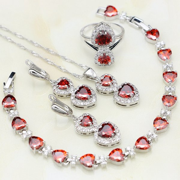 925 Sterling Silver Jewelry Sets For Women Wedding Red Cubic Zirconia White CZ Necklace/Earrings/Pendant/Ring/Bracelet