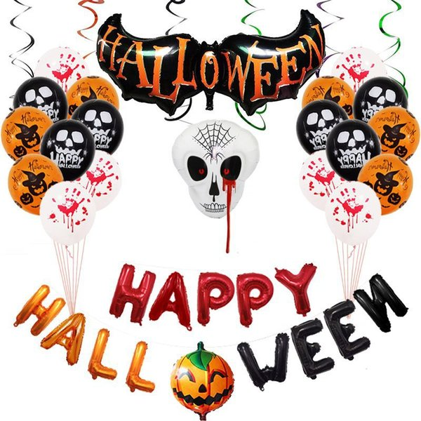 Halloween en aluminium Film Set ballon - fantôme araignée Skulls Sorcière Eyeball ballons pour la fête d'Halloween Décoration Jouets gonflables Balles Party