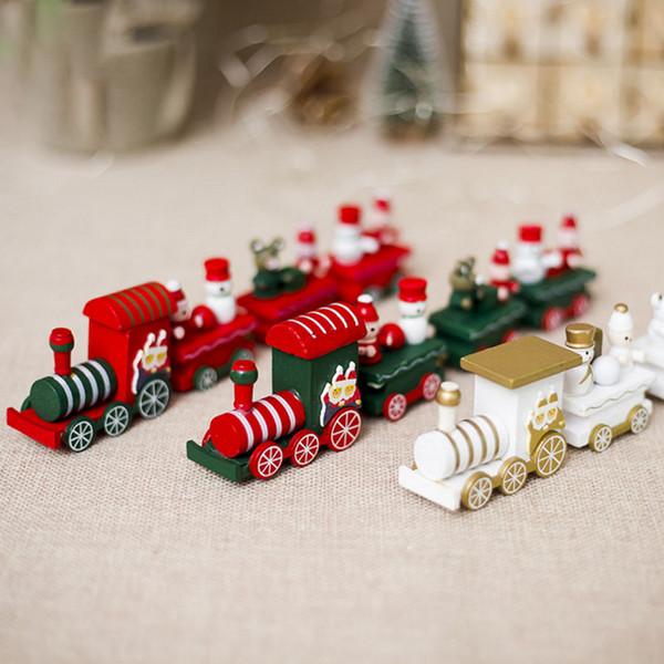Décoration de Noël Pour La Maison Petit Train Populaire Train En Bois Décor Noël Cadeau De Saint Valentin Nouvel An Fournitures