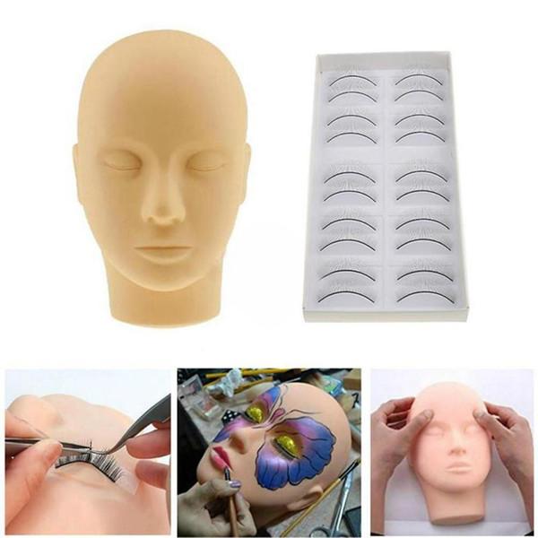Pro Makeup Training Silicona Maniquí de cabeza plana con 10 pares Kit de pestañas de práctica para extensiones de pestañas