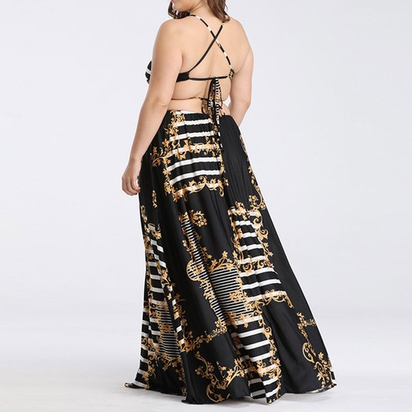 Fashion Womens Sexy Plus Size Printing dress female Lace up Sleeveless Backless Long Dress Summer ladies sexy Print Ethnic