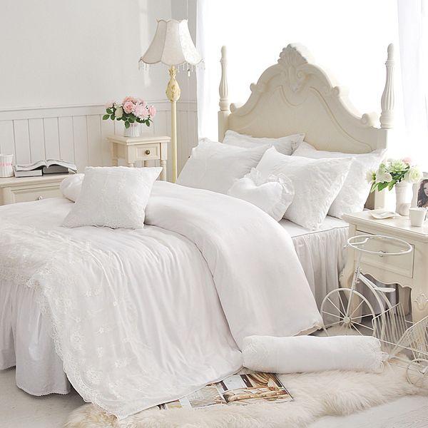 Tencel cotton Korean Princess lace 3/4pcs bedding sets, duvet cover bed skirt pillowcase set girl kids white bedsheet