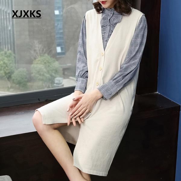XJXKS knit sweater women 2019 new fashion solid color long cardigan coat single breasted sleeveless women cardigan sweater