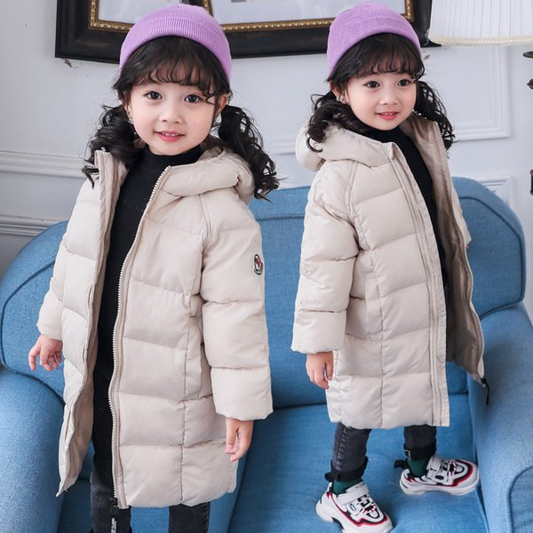 Children/'s Boy Down Jacket Fur Collar Padded Winter Outdoor Hooded Long Coat