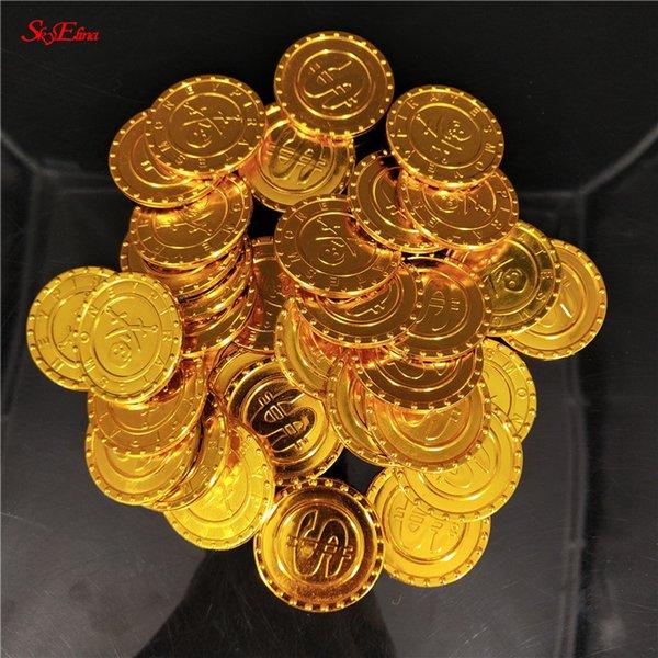 50/100 STÜCKE Goldmünzen Kunststoff Glänzende Vintage Gefälschte Schatz Spielset Spielzeug für Piraten Party Game Halloween Weihnachtsgeschenke 7Z
