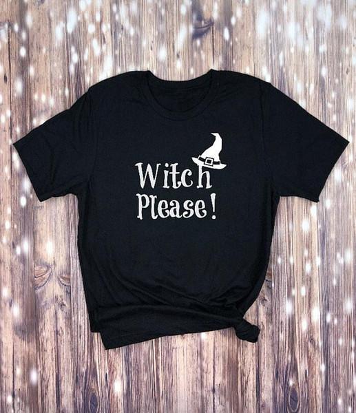 Hexe bitte T-Shirt Frauen arbeiten lustiges Sloganschmutz tumblr Baumwollt-stücke Halloween-grafisches Zitat ästhetisches Spitzenkunst-Party shrit um
