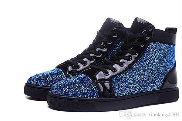 Nouveau strass bleu cristal 2019 mens et des femmes en cuir véritable noir haut top sneakers de fond rouge, sport causales design chaussures 36-46