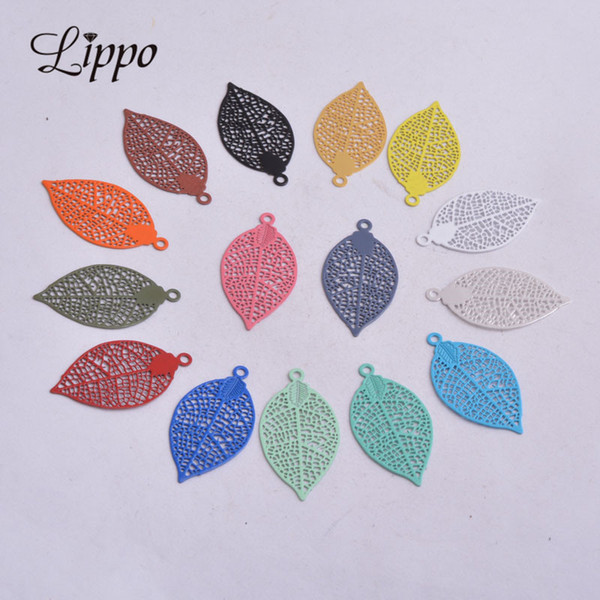 brass leaf charm 50pcs AA2592 15*28mm Painted Brass Leaves Charms Filigree Leaf Earrings Findings Pendants DIY Jewelry Materials