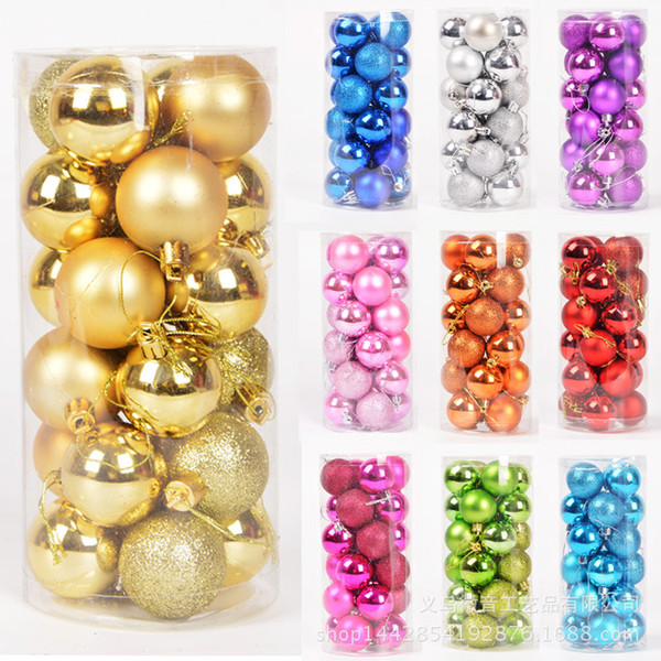 24Pcs Foam Balls Plastic Styrofoam Ball Color Plated Balls Christmas Decorations For Tree Ornament New Year Decorations