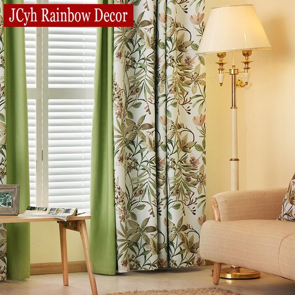 2019 American Style Pastoral Green Stitching Curtains For Living Room  Windows Drapes Bedroom Curtains Treatments Shading 85% Blinds From Yueji,  $35.94 ...