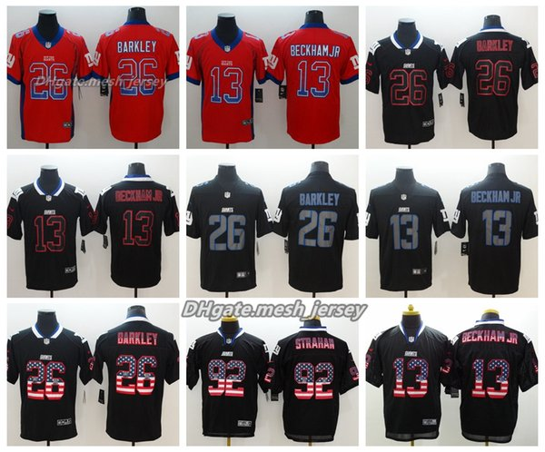 official photos dcc3c f5be7 2019 Men New York Jersey Giants 26 Saquon Barkley 13 Odell Beckham Jr 92  Michael Strahan Color Rush Football Stitching Jerseys Embroidery Logo From  ...