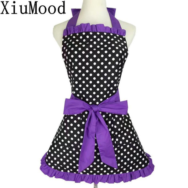 XiuMood 2017 New Fashion Red Lace Kitchen Aprons For Woman Chef Restaurant Bib Cooking Cotton Polka Dot Apron Dress With Pocket