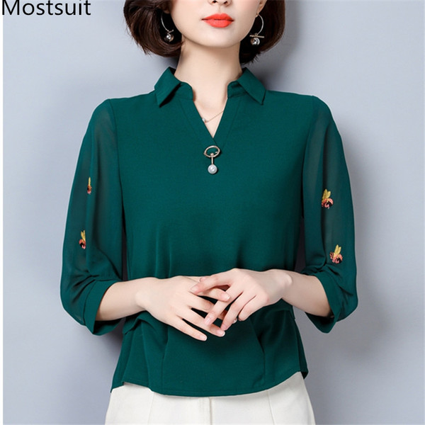 Summer Chiffon Embroidery Blouses Women Plus Size Office Korean Elegant 3/4 Sleeve V-neck Pullovers Blusas Tops Mujer S-4xl 2019