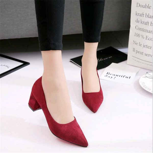 2019 Dress 2019 Spring New Pointed Bow Single Shoes Female Wild Korean Matte Thick with Shallow Mouth High Heels