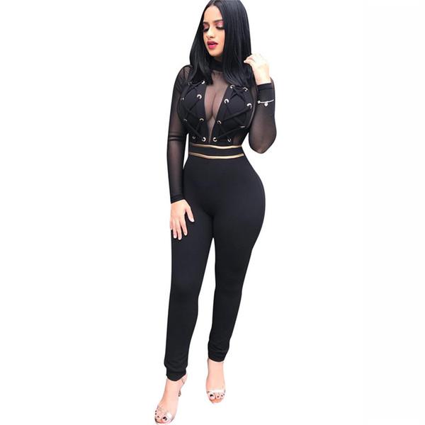 Sexy Mesh Durchsichtig Schwarze Overalls Metallösen Verband Zurück Reißverschluss Bodycon Bodysuits Mode Transparente Frauen Spielanzüge