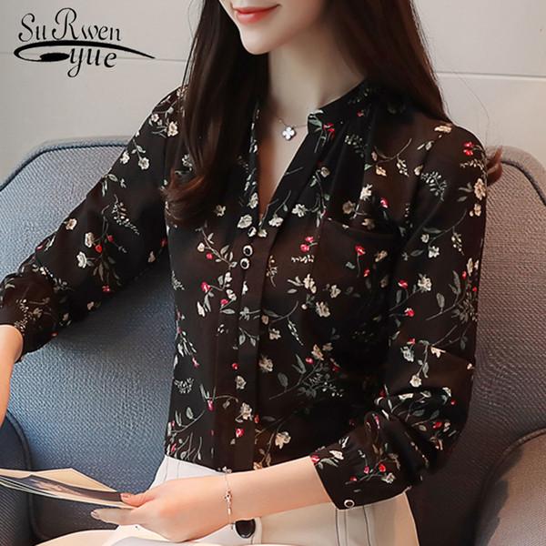 Uzun Baskı Şifon Gömlek Moda Blusas Kadınsı Bluzlar Ol Bluz Kadınlar Z0001 40 C19040402 Tops