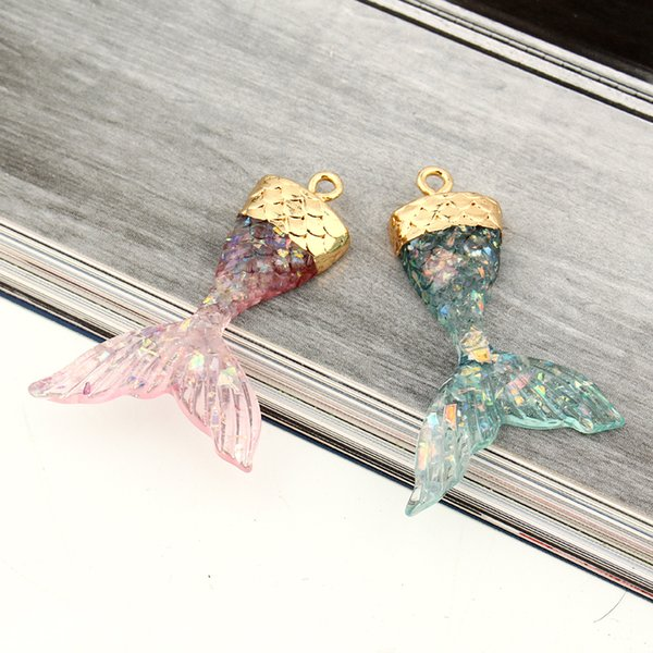 2pcs 3d mermaid tai resin eardrop charms pendant findings women diy trendy animal necklace anklet jewelry accessories f221