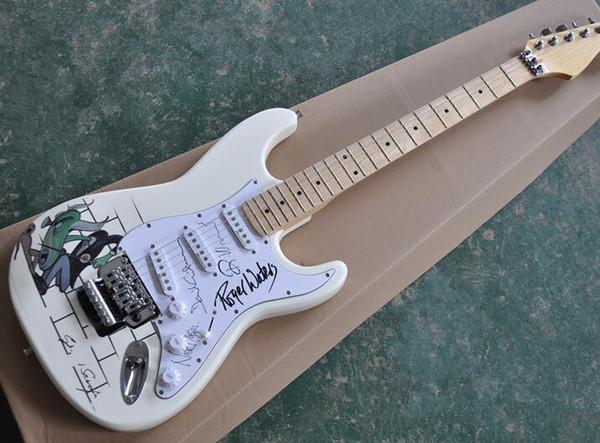 Guitarra eléctrica blanca de leche con patrón especial, pastillas pickguard blancas, accesorios de cromo, que se ofrecen personalizados según lo solicite