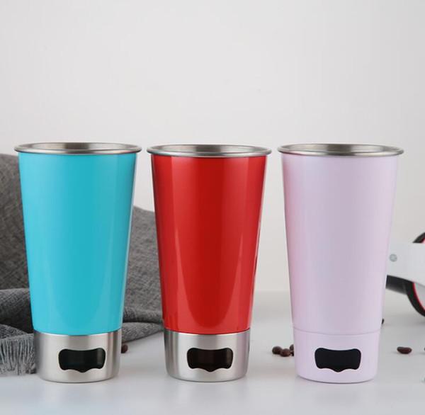 Şişe Açacağı Suyu Ile 500 ML Paslanmaz Çelik Bardak Bira Cam Kısmı Bardaklar Metal Mutfak Bar Içme Suyu fincan LJJK1498