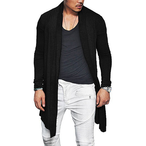 Newly Man Autumn Casual Cardigan Asymmetric Solid Color Wrap Poncho Coat Outwear VK-ING