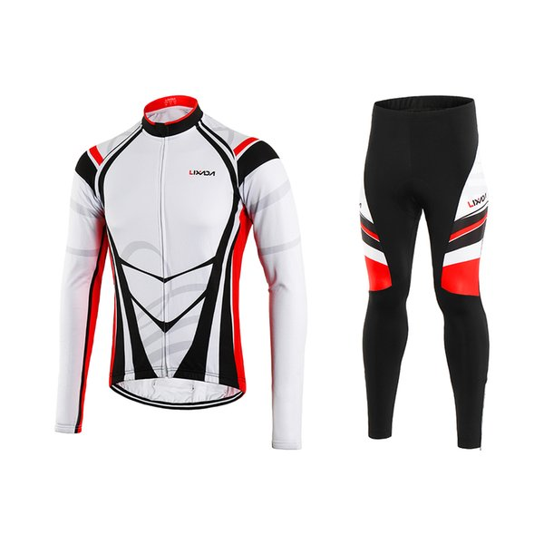 Lixada Men's Winter Thermal Fleece Cycling Clothing Set Long Sleeve Windproof Cycling Jersey Coat Jacket with 3D Padded Pants