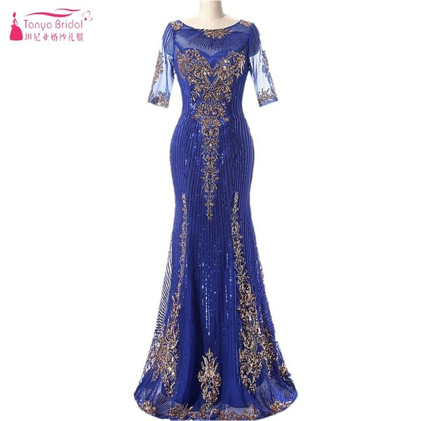 Mermaid Long Evening Dresses With Sequins Royal Blue Gold Sequins Three Quarter Contrast Color Formal Evening Gown Prom