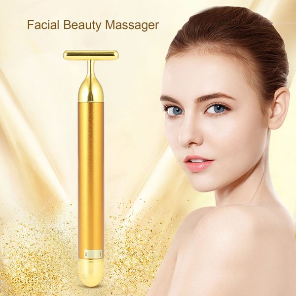 Fast Ship Facial Massager Roller 24K Beauty Golden Vibration Slimming Face Energy Roller Tightening Wrinkle Bar Skin Diagnosis Syst