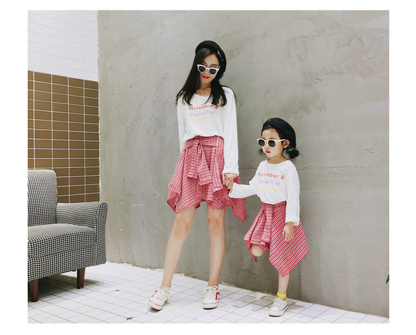 Mommy and daughter matching outfits girls lace-up Bows belt plaid skirt kids lattice irregular princess skirt children clothing F9734