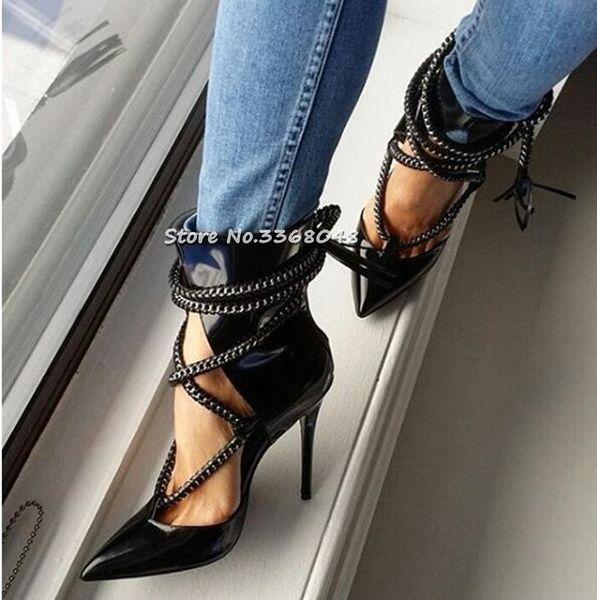 New Fashion Donna Stivaletti in vernice nera Catene con frange Zip posteriore Taglia corto Stivali tacchi Tacchi incrociati