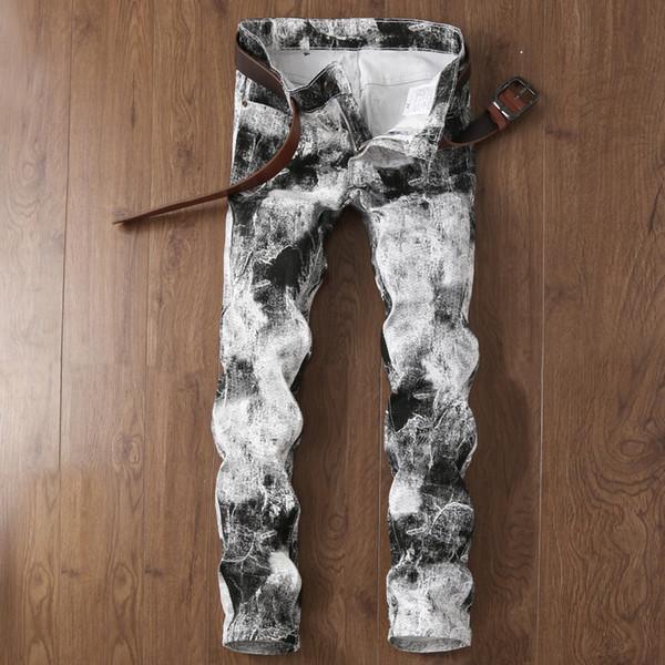 Männer Jeans Weiß Druck Gerade Schlank Frühling Sommer Mode Lässig Einfarbig Männliche Denimhose Gezeiten Hohe Qualität