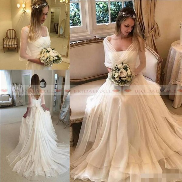 Elegant A Line Wedding Dresses with Wraps Chiffon Sweep Train Ruffles Ruched Pleats Simple Custom Made Plus Size Garden Country Wedding Gown
