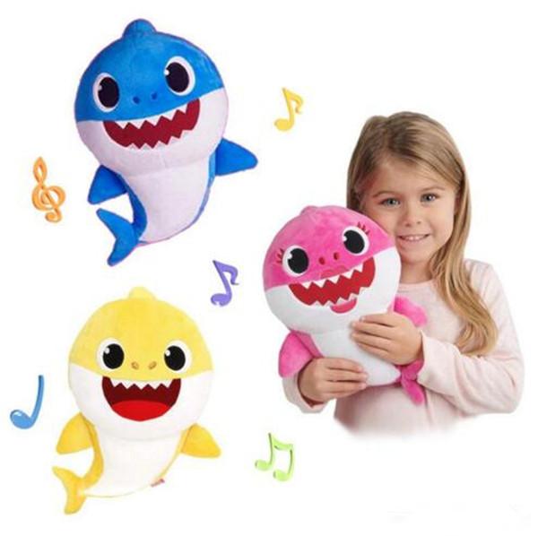 Tiburón bebé con música Cute Animal Plush 2019 Nuevas muñecas de tiburón bebé Cantando una canción en inglés para niños, niñas, 3 colores, 30 cm (11.8 pulgadas) B11