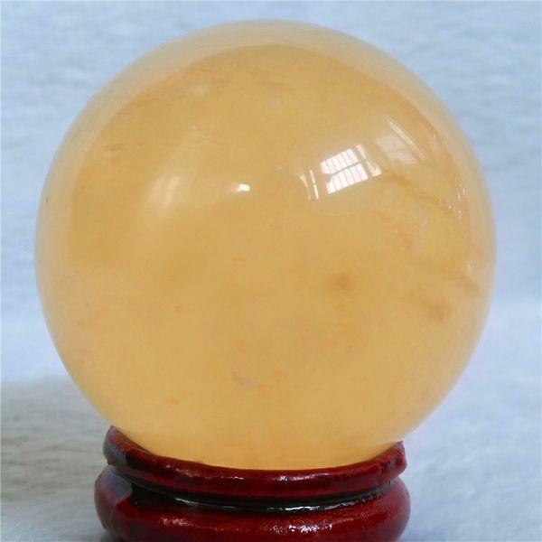 Natural Yellow calcite quartz crystal ball
