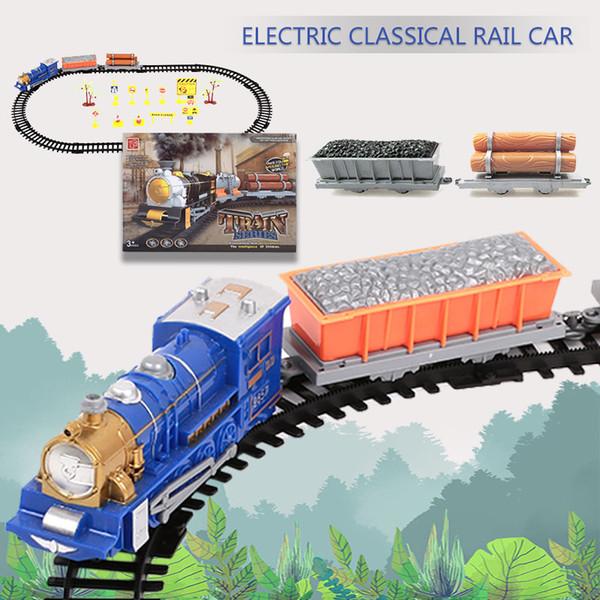 A coleção multicolorido do trem 2019 do trem do brinquedo monta o trem para o transporte da gota