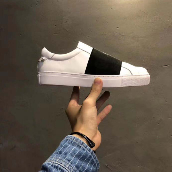 Fashion designer low mens womens casual shoes with knots on the back paris strap leather sneaker for men women size 35-46