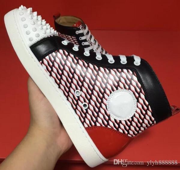 Mujeres Hombres Zapatos Zapatilla de deporte con fondo rojo Zapatos de boda de fiesta de lujo Cuero genuino Louisfalt Spikes Zapatos casuales con cordones Negro Blanco