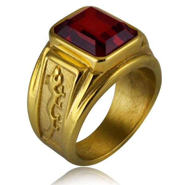 Men's Figment Ring with Red Blue Stone in Gold color Tone Stainless Steel Engraved Dragon Men Wedding Band for Male Jewelry Anel