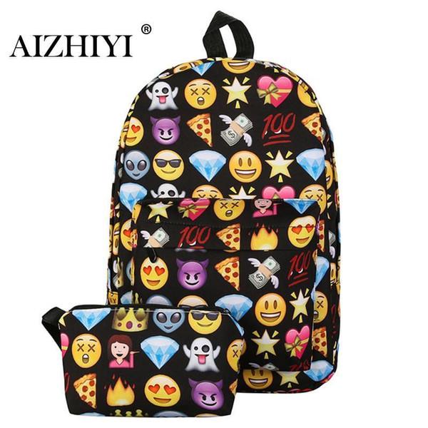 2pcs Emoji Backpack 3d Cute Smile Printing Backpack Waterproof Nylon Backpacks For Teenage Girls Travel School Bag Bolsa Mochila Y19051405