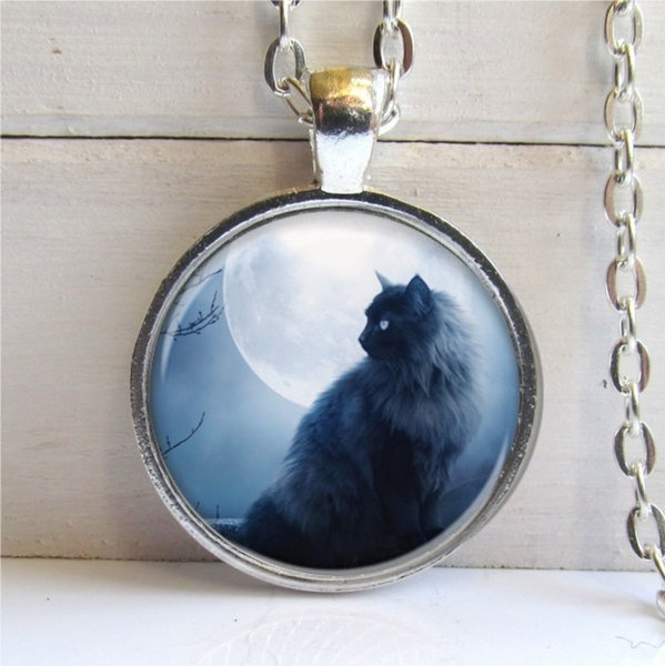 2019 New Glass Pendant Necklace Vintage Style Fashion Tree Black Cat Pendant, Cat Necklace, Cat Jewelry, Silver And Glass Charm Necklace