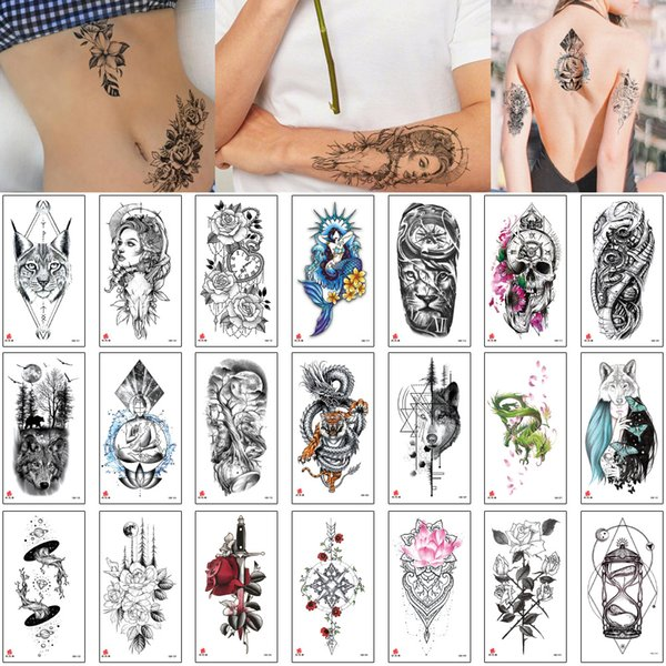 11.4x21cm XQb Tattoo étanche pour hommes Femme sexy Faux serpent dragon Rose fleur licorne Loup Designs Autocollants Tattoo Body Fashion temporaires