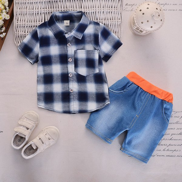 2019 baby boys summer clothes newborn children clothing sets boy short sleeve shirts + jeans shorts set 2 pieces