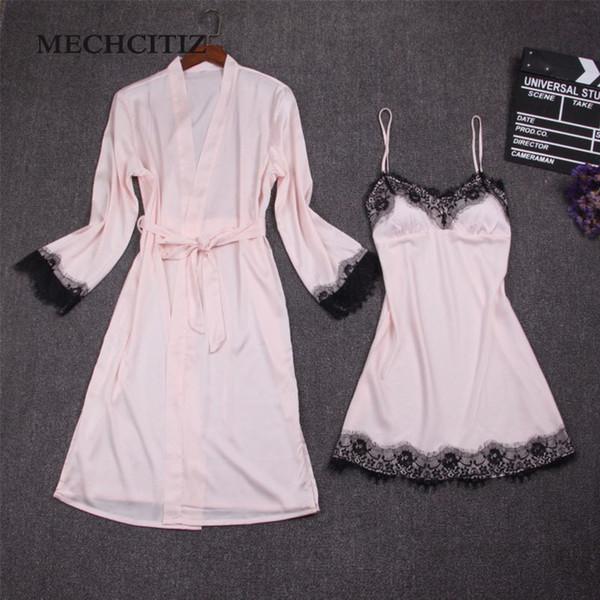 Mechcitiz Female Sexy Bra Pajamas Silk Bathrobes Dress Nightgown Set Women Two Piece Nightdress Lace Robes Homewear Clothing Y19071901