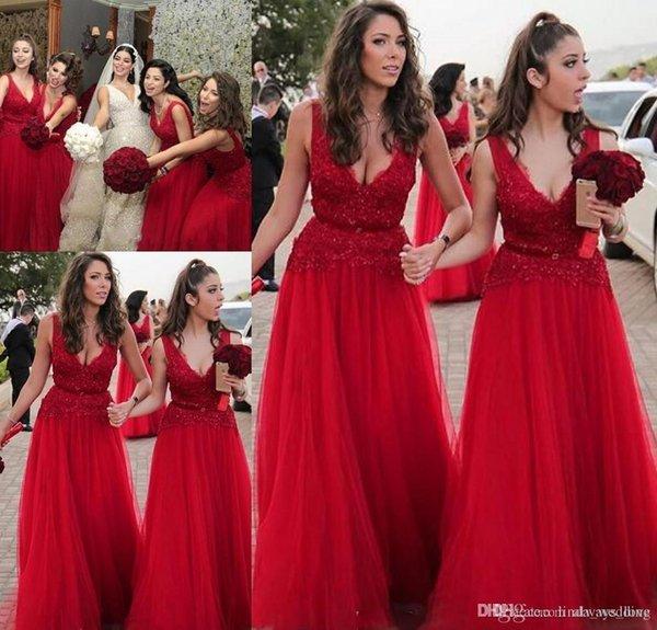 Compre 2019 En Existencia Vestido Largo Rojo De Dama De Honor Cuello En V Verano Jardín Del País Fiesta De Bodas Invitada Dama De Honor Vestido Más