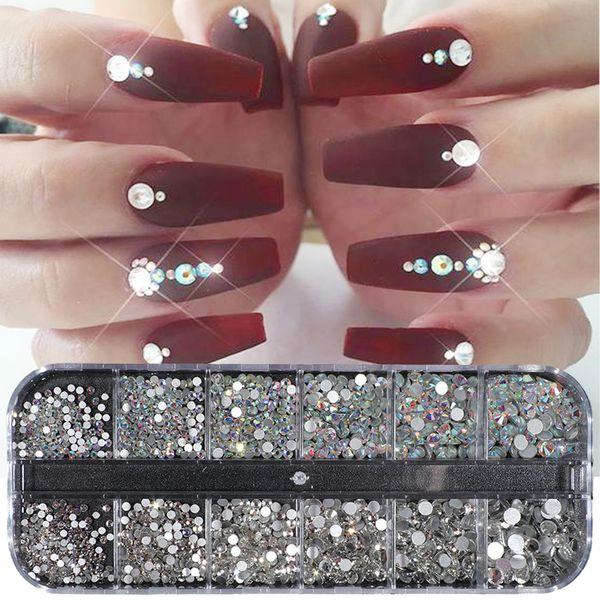 1 Case Crystal Strass Nail Art Rhinestone Decoration Mixed Size Clear AB Non Hotfix Flatback Gem for Nail Manicure Access JI388