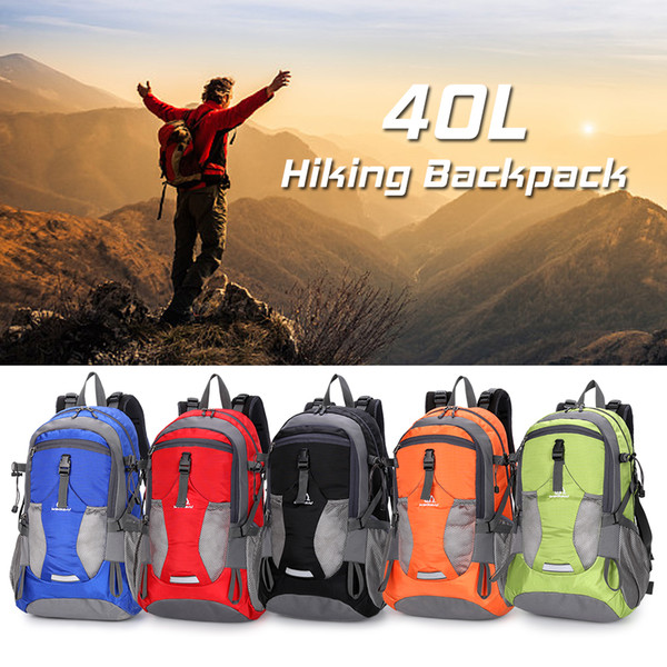 40L Water Resistant Camping Hiking Backpack Outdoor Sports Bag Trekking Climbing Travel Backpack Bag Fits 14 Inch for Men Women